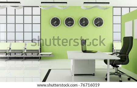 modern green  office with waiting space -rendering - the image on background is a my photo new york 2008 - stock photo