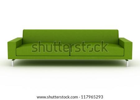 Modern green sofa isolated on white background - stock photo