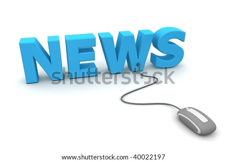 modern grey computer mouse connected to the blue word News - stock photo