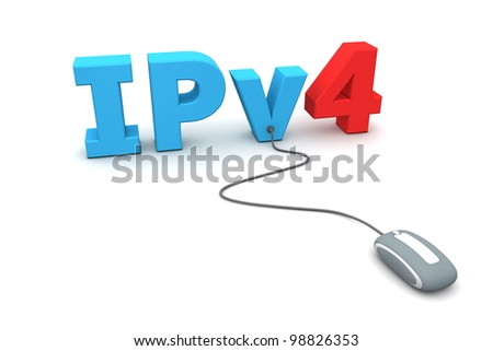 modern grey computer mouse is connected to the blue IPv4 - number four in red - stock photo