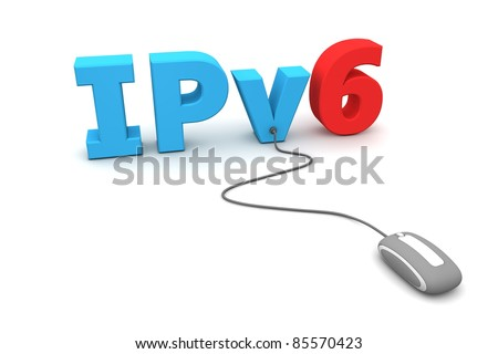 modern grey computer mouse is connected to the blue IPv6 - number six is red - stock photo