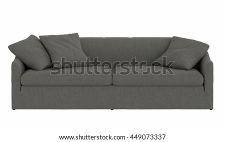 Modern grey sofa isolated on white background,  - stock photo