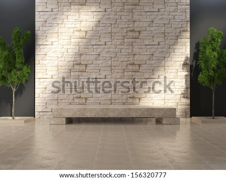 Modern grunge interior with marble bench and stone wall. - stock photo