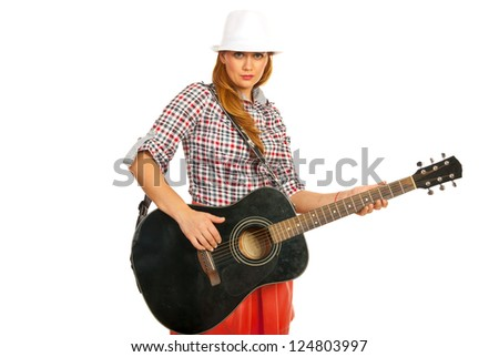 Modern guitarist woman holding guitar isolated on white background - stock photo