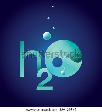 Modern H2O water illustration with drops - stock photo