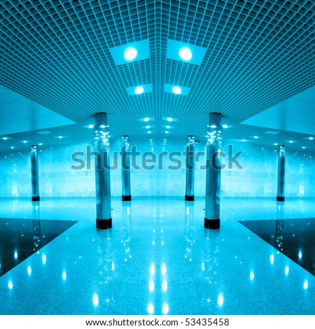 modern hall inside airport - stock photo