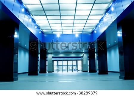 modern hall inside metro station - stock photo