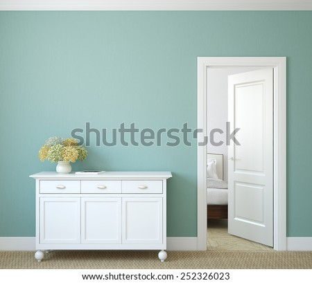 Modern hallway with open door. 3d render. - stock photo