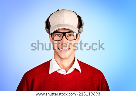 Modern handsome young man in spectacles. Studio shot. - stock photo