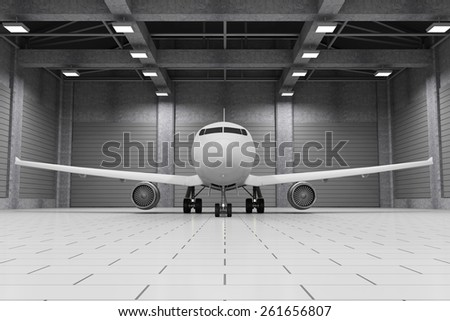 Modern Hangar 3D Interior with Modern Airplane Inside. Passenger Airplane of My Own Design. 3D Rendering - stock photo