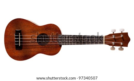 Modern hawaii ukulele guitar isolated against white with four strings - stock photo