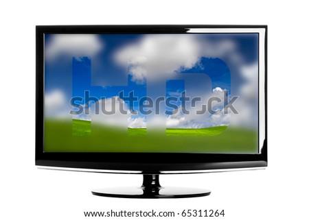 Modern HD TV showing a beautiful green landscape - stock photo