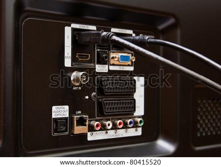 Modern HDMI TV Audio Video input Connection Panel - stock photo