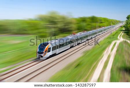 Modern hi-speed passenger train in Ukraine - stock photo