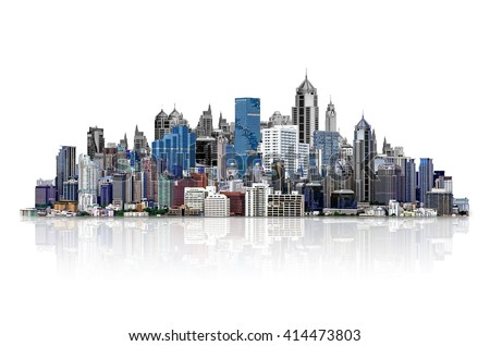 Modern high-rise buildings Isolated on white background, with clipping path. - stock photo