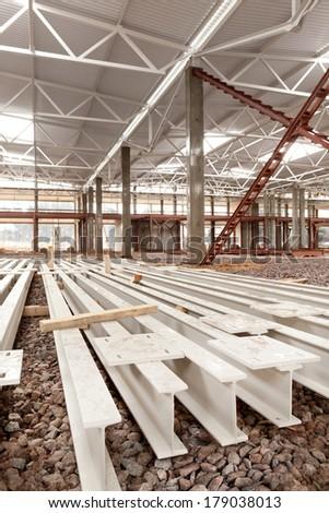 Modern high-tech factory workshop construction  - stock photo