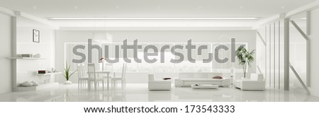 Modern home interior of white apartment panorama 3d render - stock photo