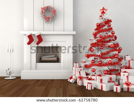 modern home interior with fireplace and christmas tree in white and red colors - stock photo