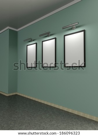 Modern home interior with green wall and three frames. 3D. - stock photo