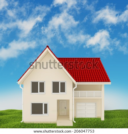 modern home located on the lawn on a background of blue sky - stock photo