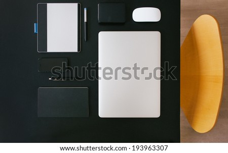 Modern Home Office Overhead - stock photo