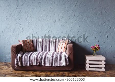 modern home stylish simple interior with sofa - stock photo