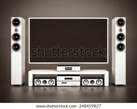 modern home theater on a gray background. black and white - stock photo