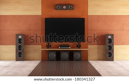 Modern home theater room without furniture - rendering - stock photo
