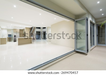 Modern home with terrace in Australian mansion - stock photo