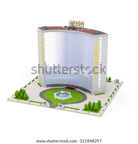 Modern Hotel Building Isolated on white background  - stock photo