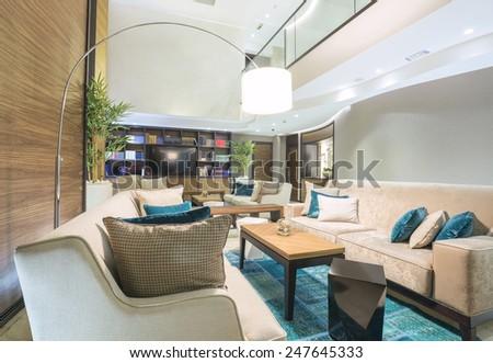 Modern hotel lobby cafe interior - stock photo
