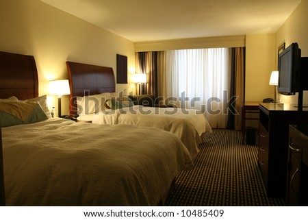 Modern Hotel Suite With Lights On - stock photo