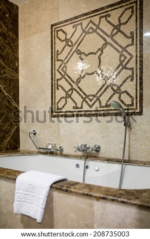 Modern house bathroom interior with marble finishing - stock photo