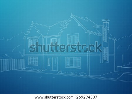 Modern house blueprint. White outline of home on a blue background grid. - stock photo