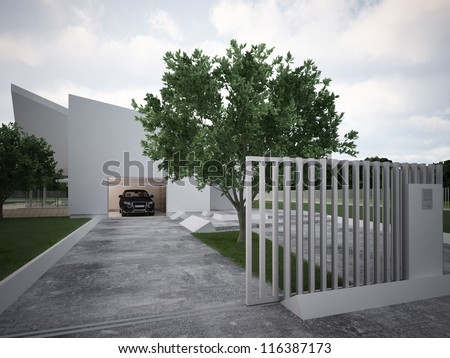 Modern house design, contemporary architecture, hi tech project - stock photo