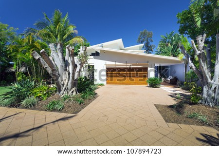 Modern house front and entrance - stock photo