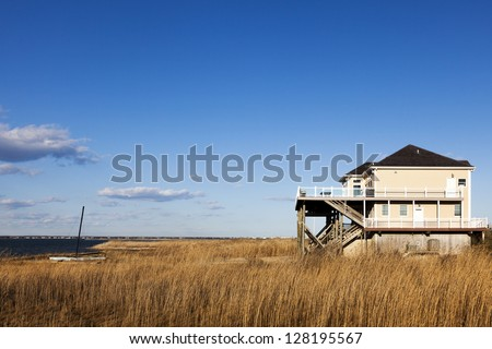 Modern house located at the famous Hampton area along Dune road. Long Island , New York - stock photo
