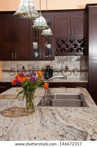 Modern house new contemporary luxury custom kitchen and refreshments on exotic granite countertop.  - stock photo