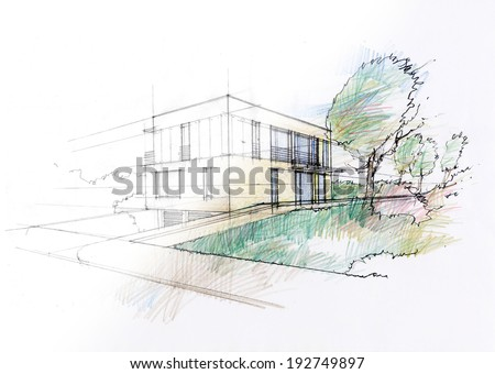 Modern house sketch. Visible process of sketching an idea. - stock photo