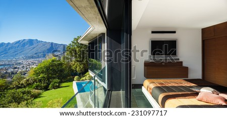 Modern house, view from bedroom - stock photo