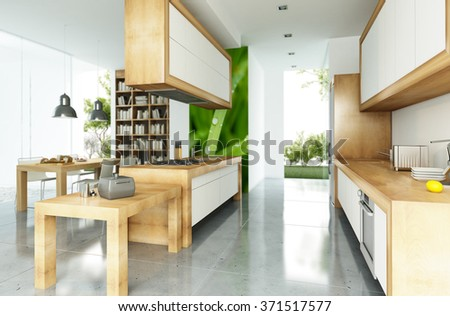 Modern house with an open plan kitchen concept - stock photo