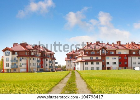 modern houses and path - stock photo