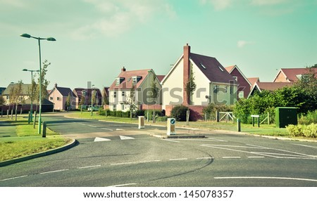Modern houses in Bury St Edmunds, UK - stock photo