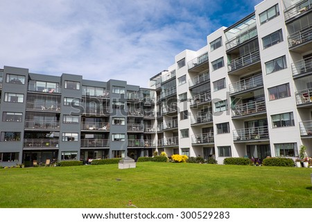 Modern housing complex seen in Reykjavik, Iceland - stock photo