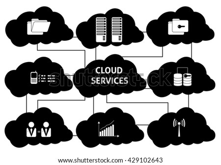Modern icons set of cloud data technology services, global connection. Simple black and white pictogram pack. Stroke logo concept, web graphics. - stock photo