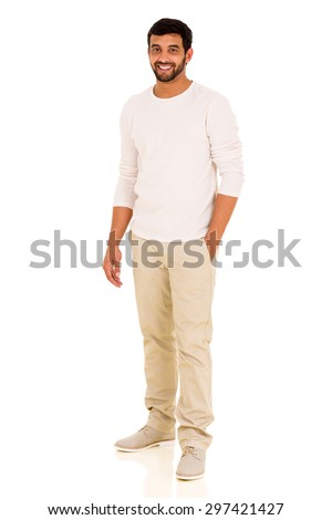 modern indian man isolated on white background - stock photo