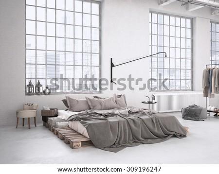 modern industrial bedroom in a loft. 3d rendering - stock photo