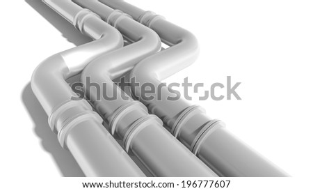 Modern industrial metal pipeline on white background - stock photo