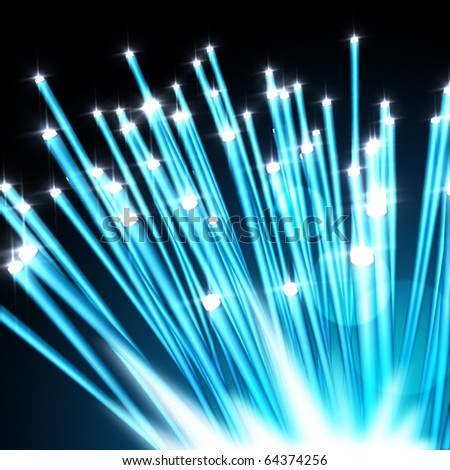 modern information technology concept with fiber optics - stock photo
