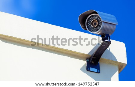 Modern Infrarred Day-Night Camera with a Blue Sky - stock photo